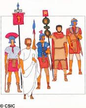 Senadores, centuriones y legionarios romanos